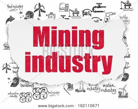 Manufacuring concept: Painted red text Mining Industry on Torn Paper background with  Hand Drawn Industry Icons