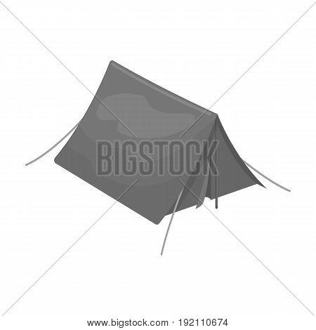 Tourist tent.Tent single icon in monochrome style vector symbol stock illustration .