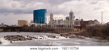 Downtown City Skyline Indianapolis Indiana White River