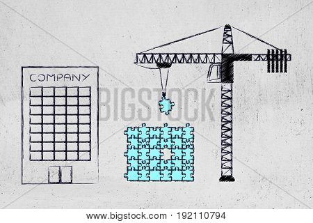 Company And Crane Fixing A Puzzle With Missing Piece, Build Solutions