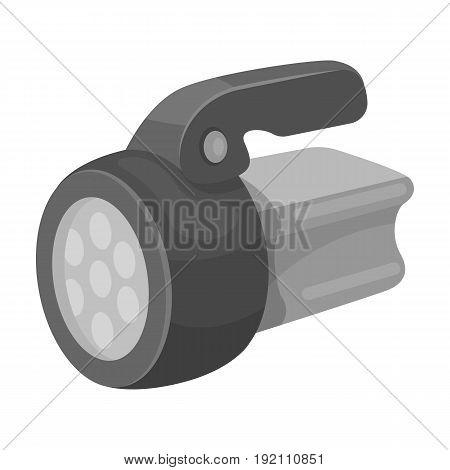Flashlight.Tent single icon in monochrome style vector symbol stock illustration .