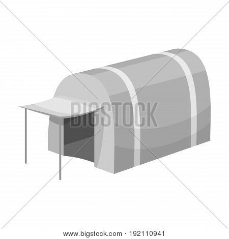 Tent with awning.Tent single icon in monochrome style vector symbol stock illustration .