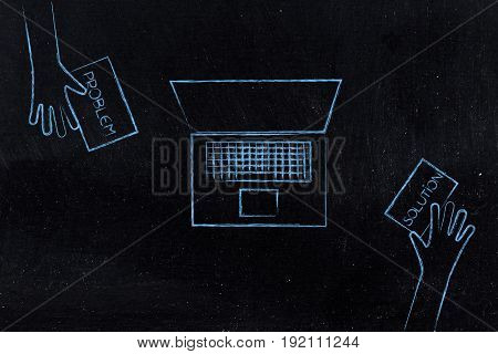 People Exchanging Problem And Solution At Work On A Desk With Laptop