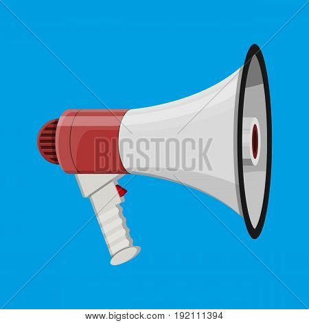 Loudspeaker or megaphone. Announcement element. Vector illustration in flat style