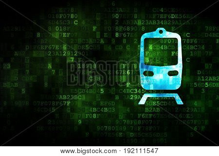 Travel concept: pixelated Train icon on digital background, empty copyspace for card, text, advertising