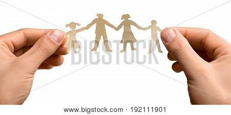 Family protection white background isolated on white heterosexual couple group of people holding hands
