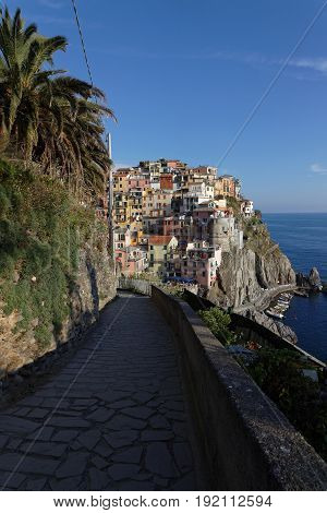 Manarola, Italy, June 2, 2017 : Manarola Is One Of The Villages In Cinque Terre National Park. The C