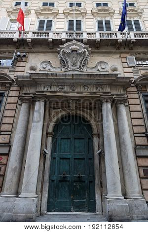 Genoa, Italy, June 5, 2017 : Palazzo Reale Facade On Via Balbi In City Center. Genoa Is The Capital