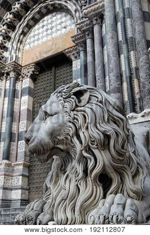 Genoa, Italy, June 5, 2017 : Lion In Front Of San Lorenzo, The Genoa Cathedral. Genoa Is The Capital