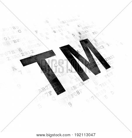 Law concept: Pixelated black Trademark icon on Digital background