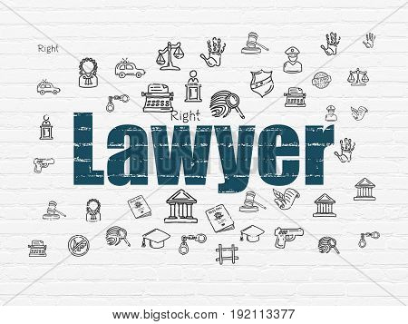 Law concept: Painted blue text Lawyer on White Brick wall background with  Hand Drawn Law Icons