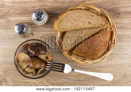 Bowl With Marinated Lactarius, Bread In Wicker Basket, Salt, Pepper