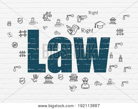 Law concept: Painted blue text Law on White Brick wall background with  Hand Drawn Law Icons