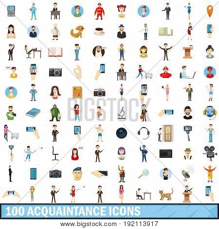 100 acquaintance icons set in cartoon style for any design vector illustration