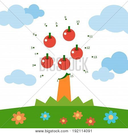 Numbers game, education dot to dot game for children, Apple tree