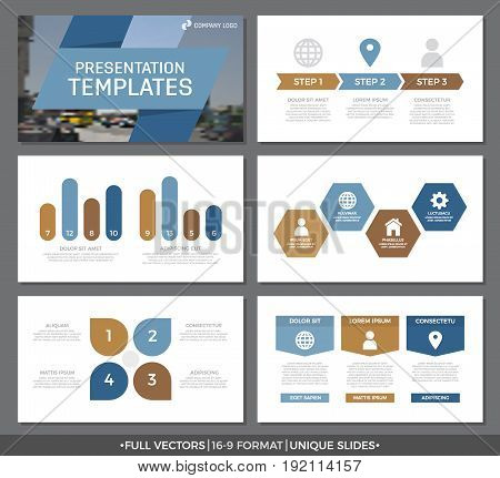 Set of blue and brown elements for multipurpose presentation template slides with graphs and charts. Leaflet, corporate report, marketing, advertising, annual report, book cover design.