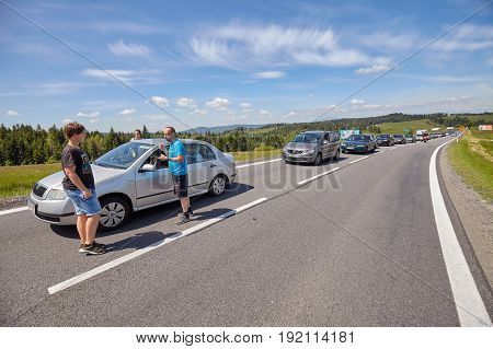 Bukowina Tatrzanska, Poland - June 15, 2017: Traffic Jam On A Road To Tatra Mountains, Popular Touri