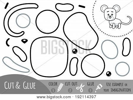 Education paper game for children Mouse. Use scissors and glue to create the image.