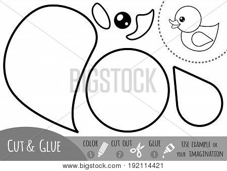 Education paper game for children Duck. Use scissors and glue to create the image.