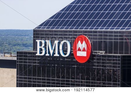 Indianapolis - Circa June 2017: Signage and Logo of BMO Harris Bank. BMO Harris is one of the Largest Banks in the Midwest V