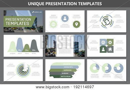 Set of green and blue elements for multipurpose presentation template slides with graphs and charts. Leaflet, corporate report, marketing, advertising, annual report, book cover design.