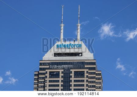 Indianapolis - Circa June 2017: Recently renamed Salesforce Tower. Salesforce.com is a cloud computing company and will add 800 new jobs to Indianapolis IV