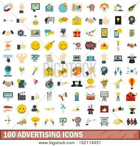 100 advertising icons set in flat style for any design vector illustration