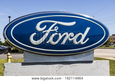 Indianapolis - Circa June 2017: Local Ford Car and Truck Dealership. Ford sells products under the Lincoln and Motorcraft brands XIV