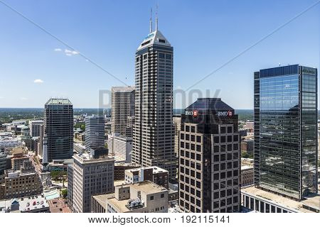 Indianapolis - Circa June 2017: Indianapolis Downtown Skyline on a Sunny Day including the Salesforce, BMO Harris, Regions Bank, and KeyBank towers II