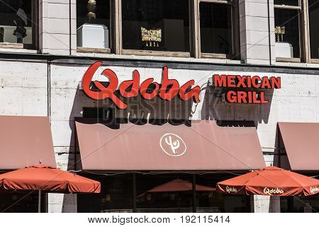 Indianapolis - Circa June 2017: Qdoba Mexican Grill Fast Casual Restaurant. Qdoba is a subsidiary of Jack in the Box III