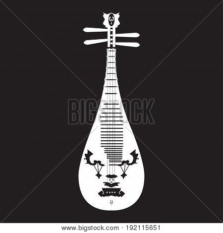 Vector illustration of white pipa template on black background. Chinese string plucked musical instrument in flat design.