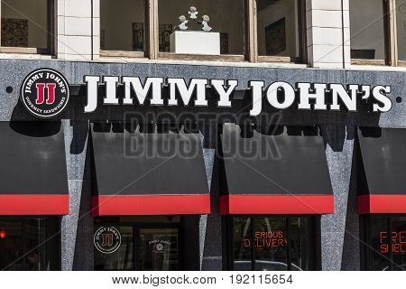 Indianapolis - Circa June 2017: Jimmy John's Gourmet Sandwich Restaurant. Jimmy John's is known for their fast delivery VII