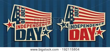 Vector signs with the symbols of the United States. Patriotic label USA and text Happy Independence Day.