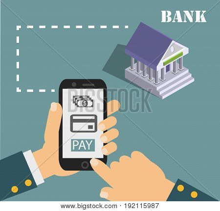 mobile payment credit card, hand holding phone, flat design. Eps 10 vector