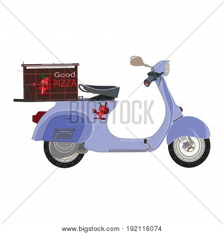 Vector illustration of pizza delivery scooter with pizza box. Fast delivery concept design element in flat style.