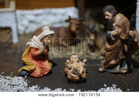 Traditional Nativity Scene With The Holy Family And The Baby Jes