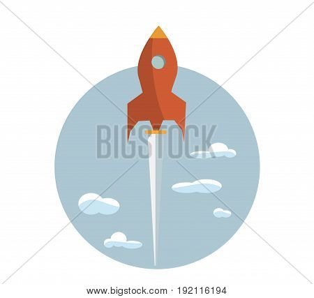 Start up new business project with rocket and clouds image, vector eps10 illustration