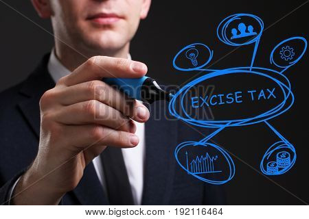 Business, Technology, Internet And Network Concept. Young Business Man Writing Word: Excise Tax