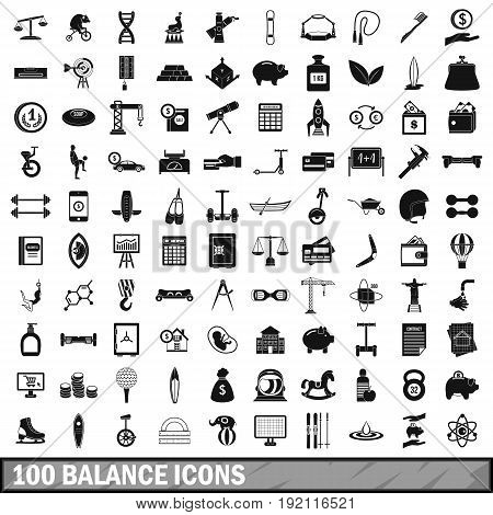 100 balance icons set in simple style for any design vector illustration