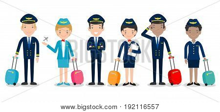 pilot and stewardess. set of officers and flight attendants Stewardesses  isolated on white background, pilot and air hostess.