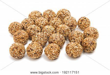 Roasted thala balls isolated on white background