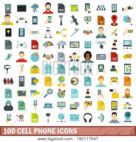 100 cell phone icons set in flat style for any design vector illustration