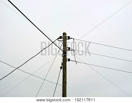 rural three phase power pole and lines