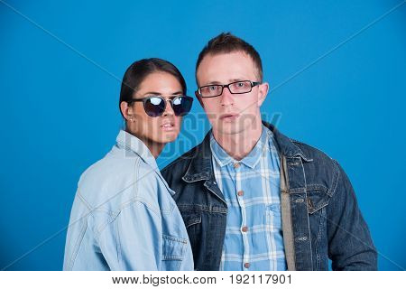 Man And Girl In Glasses And Jeans Jacket