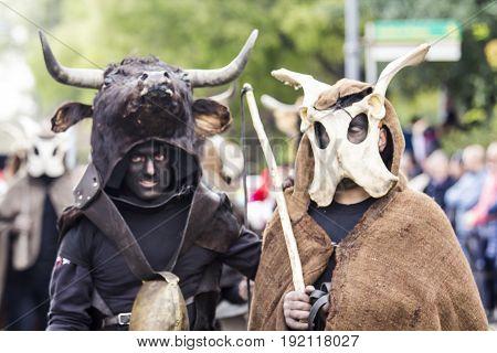 MURAVERA, ITALY - APRIL 2, 2017: 45 Citrus Festival - Ethnic Masks Bois and I was Janna Morti of Escalaplano - Sardinia