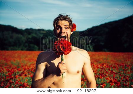 Surprised Muscular Man In Field Of Red Poppy Seed