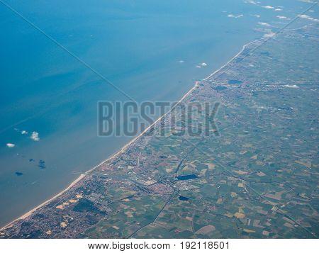 Aerial View Of Belgium Coast