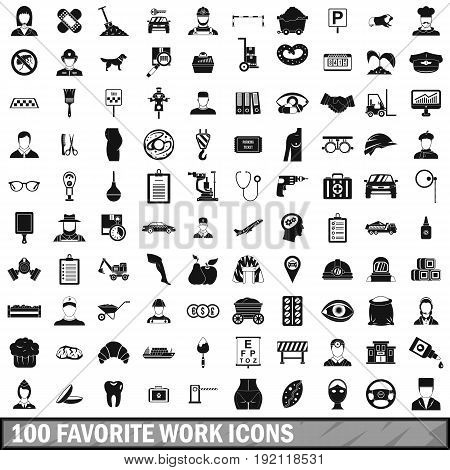 100 favorite work icons set in simple style for any design vector illustration