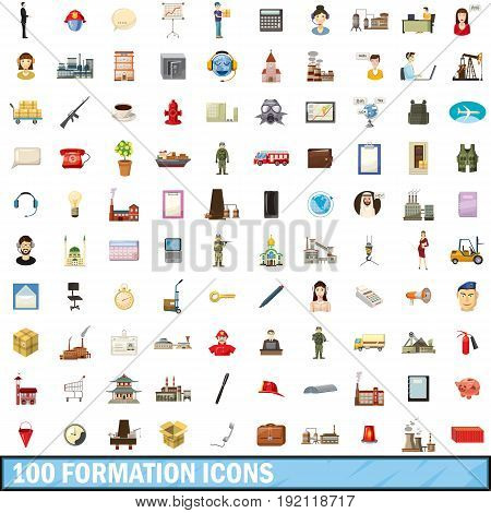 100 formation icons set in cartoon style for any design vector illustration
