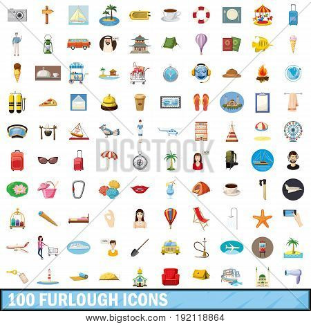 100 furlough icons set in cartoon style for any design vector illustration